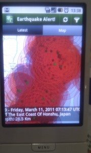 android earthquake alert app, big circles on my android map over japan