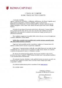 Lettera del Sindaco di Roma ai suoi cittadini